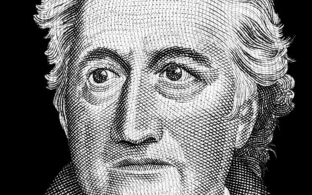 """Der große Dichter Goethe schaut zwar streng, aber er scheint mit der Neuinterpretation seines """"Erlkönigs"""" zufrieden."""